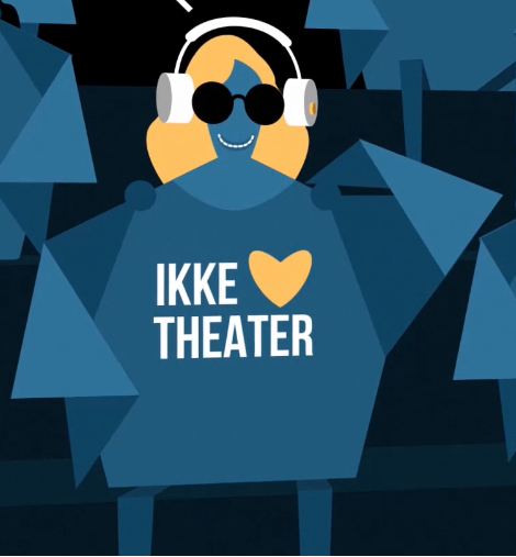 """Comic-Zeichnung einer blinden Theaterbesucherin mit Kopfhörern, darunter steht """"Ikke Herz Theater"""""""