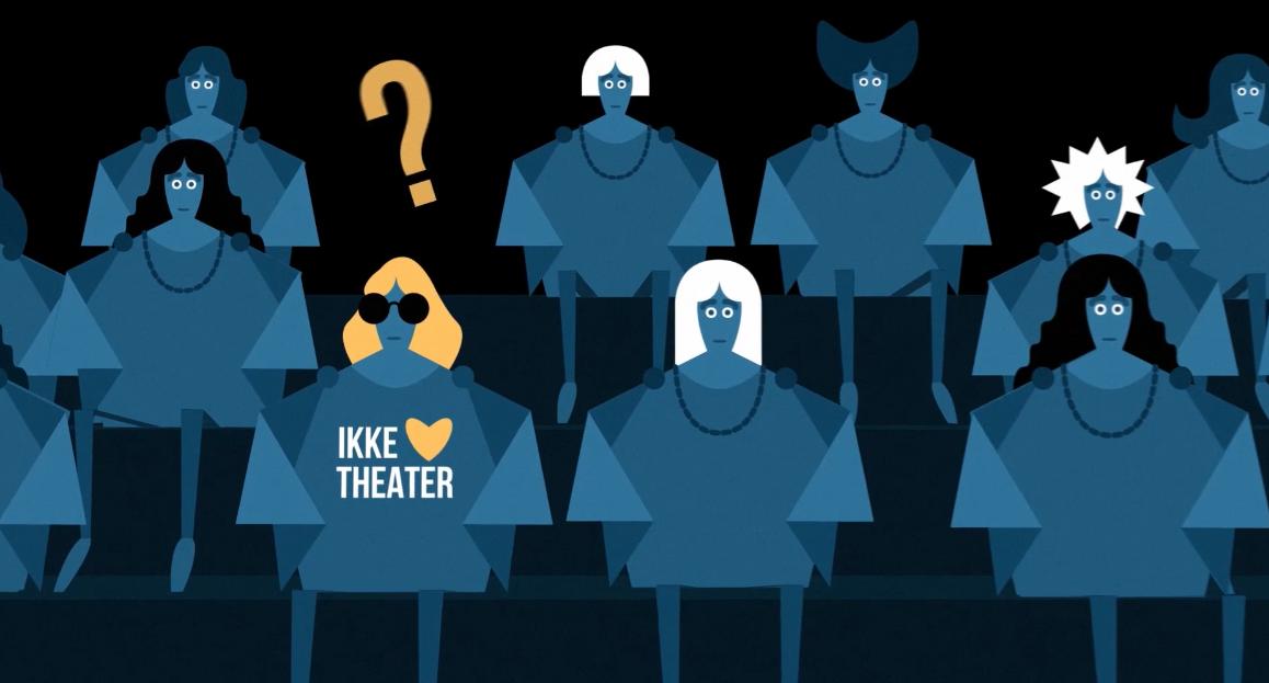 Comic eines Theaterpublikums vor schwarzem Hintergrund