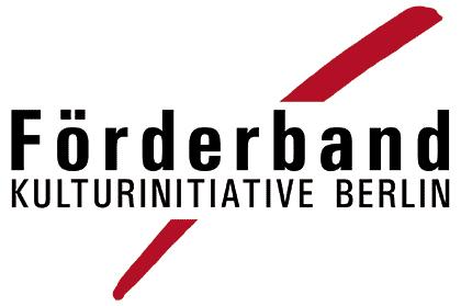 Logo von FÖRDERBAND e.V. Kulturinitiative Berlin, schwarzer Schriftug mit einem rot kreuzendem Band im Hintergrund.