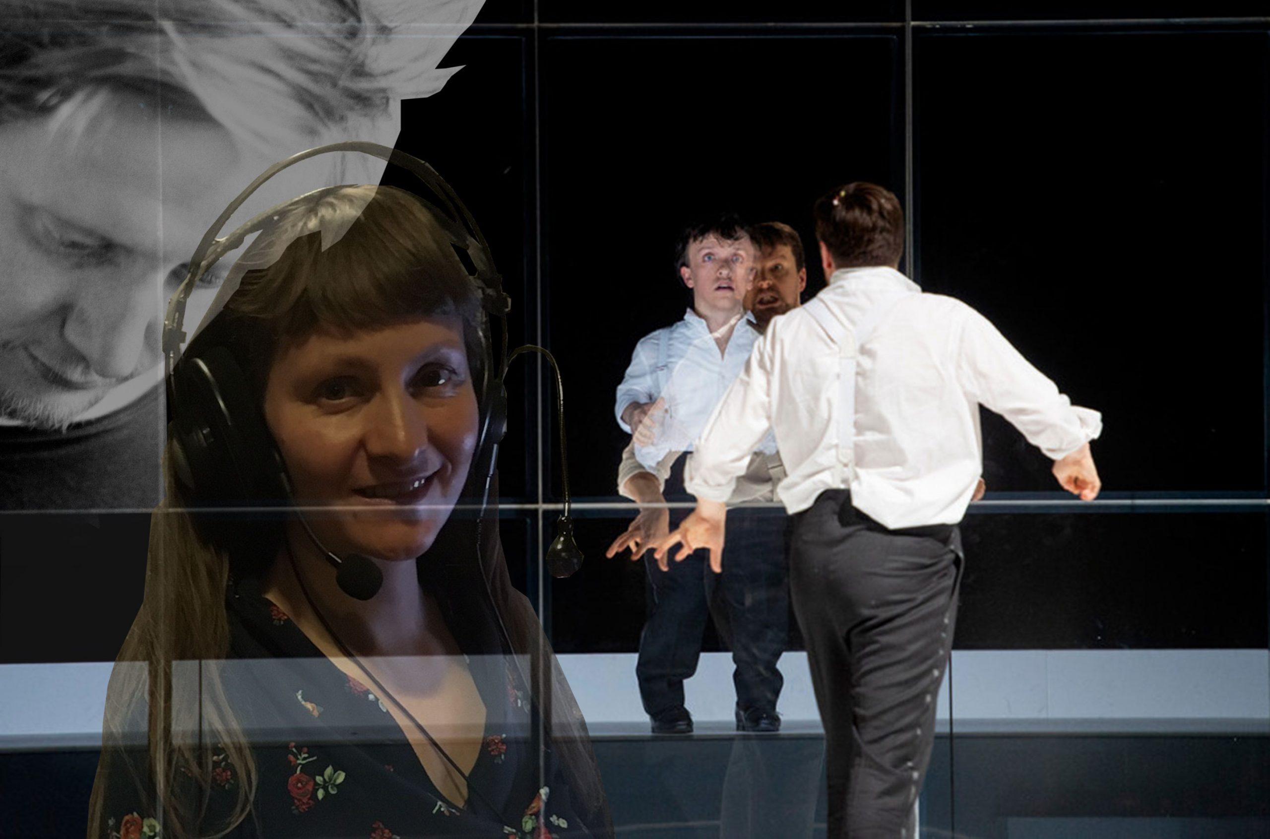 """© Christiane Reinsch. Foto-Collage von Felix Koch und Anke Nicolai vor einem Szenenbild aus """"Der Zwerg"""" der Deutschen Oper Berlin, auf dem der Darsteller sich im Spiegel betrachtet."""