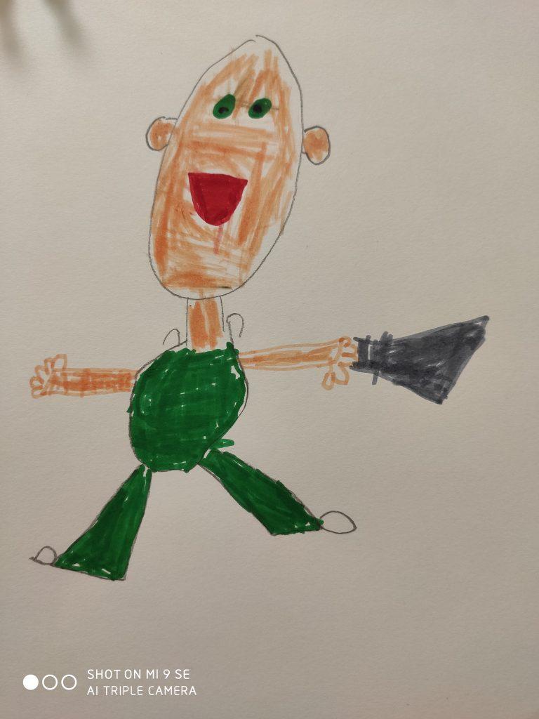 Ein Mann im grünen Anzug mit großen Ohren und einem weit geöffneten Mund. In der einen Hand hält er eine dunkle Tasche, als würde er sie wegschleudern.