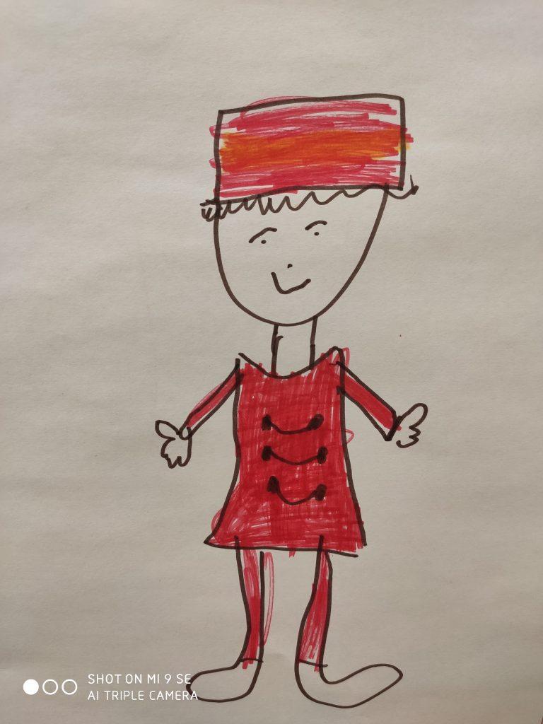 Zeichnung einer Figur mit rotem uniformartigen Hemd und roter Hose. Sie trägt einen rechteckigen Hut.